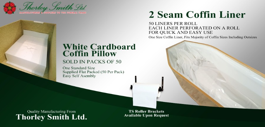 White Cardboard Coffin Pillow and 2 Seam Coffin Liner