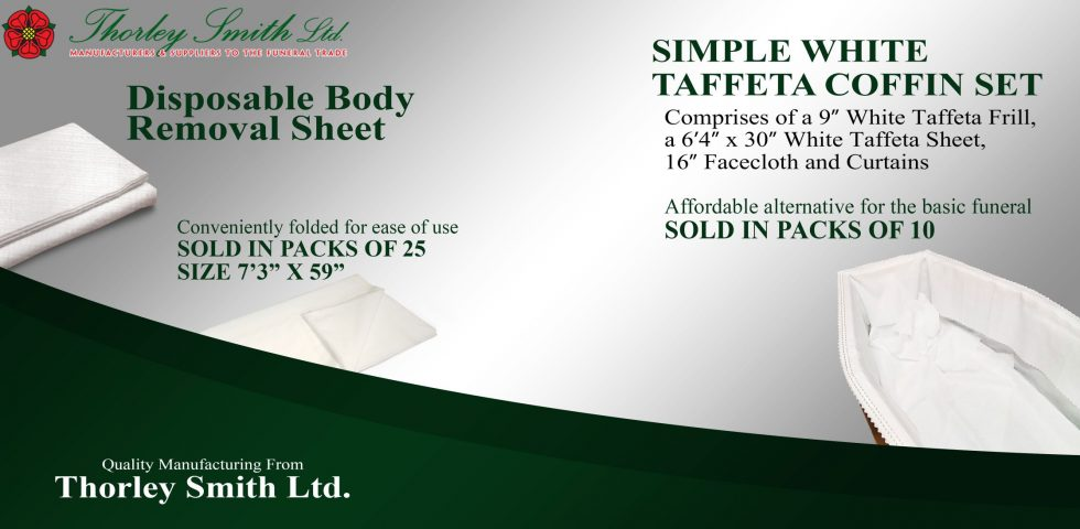 Simple White Taffeta Coffin Set & Disposable Body Removal Sheet