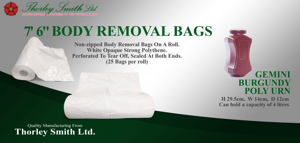 7'6 Non Zipped body removal bags on a roll and the Gemini Burgundy Poly Urn